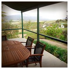 The front stoep has beautiful views over the farm and the Olifants River valley beyond.